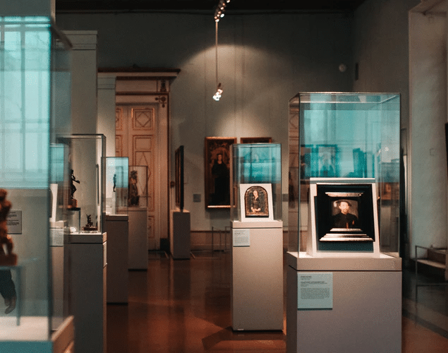 Artifacts on display at a museum