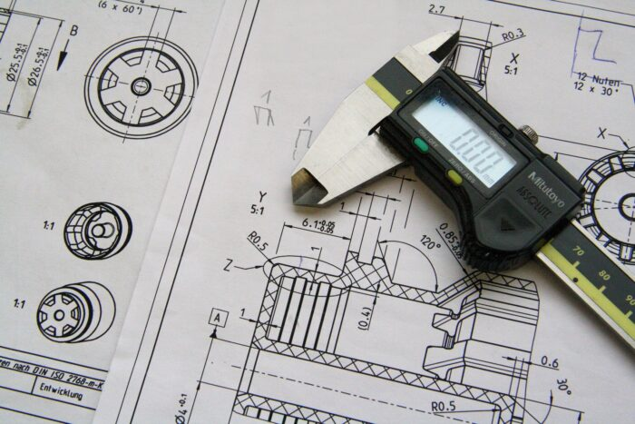 A mechanical engineer design sketch