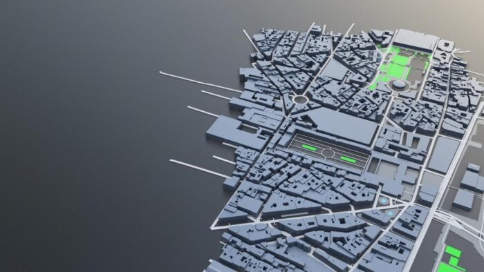 Low detail render of a city.
