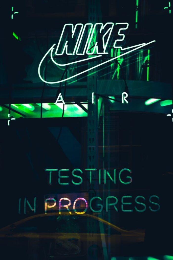 white neon Nike signage