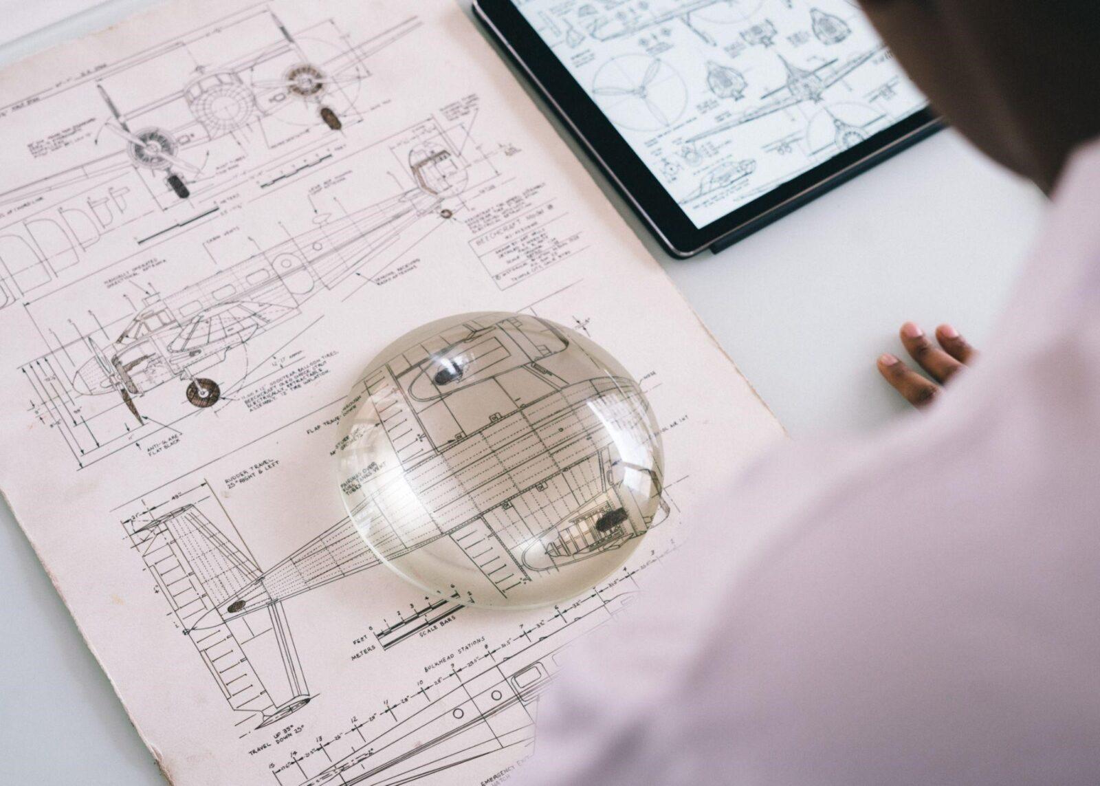 A mechanical engineer making a 3D CAD Design